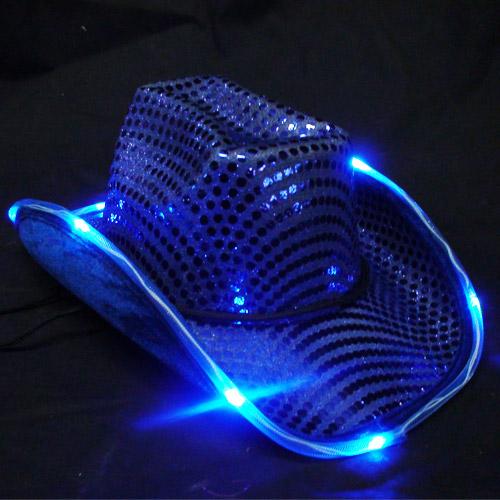 Blue Led Flashing Cowboy Hat Sureglow Com
