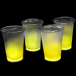Cool Glow 12oz. Cups with collars and 50 Super Bright Shorties, Yellow (50 Pack)