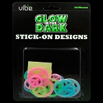 Glow In The Dark Multicolor Peace Sign Pieces - 24 Piece Set