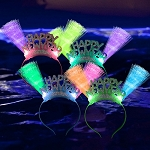 LED Fiber Optic Happy New Year Headband