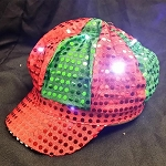 Newsboy Hat Red/Green with LED lights