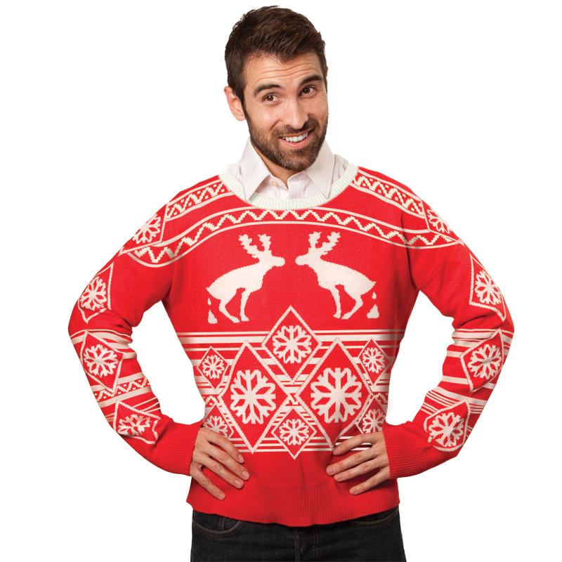 Ugly Christmas Sweater: Pooping Moose | Glowsource.com