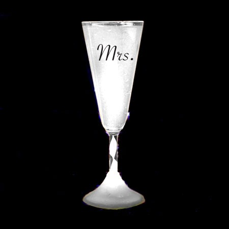 Light Up Champagne Cup: White- Mrs.