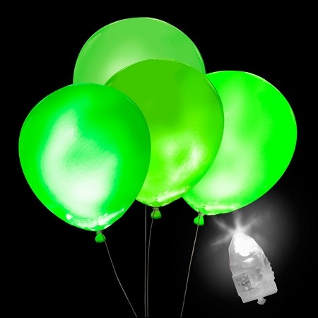 Light-Up Green Balloons, White Light with Green Balloons (5-pack)