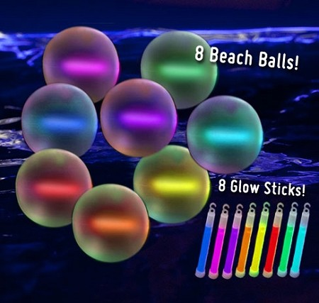 "10"" Glow Beach Balls: Assorted (8-Pack)"
