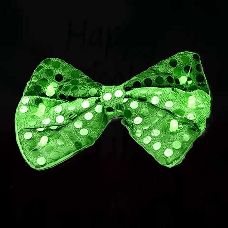 LED Sequin Bow Tie - Green