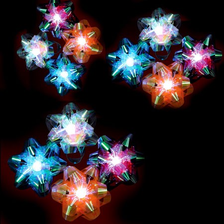 LED Fiber Optic Gift Bow- 6 pack (Pink, Aqua, Lime Green, White, Orange)