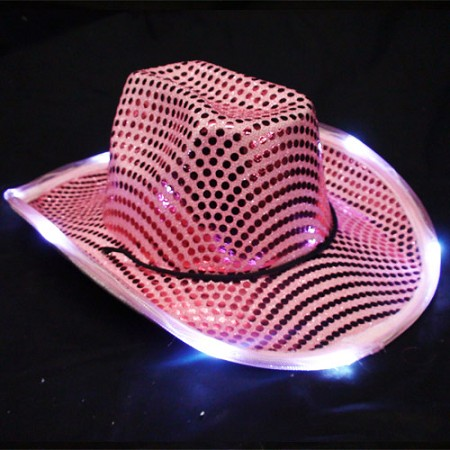 Pink LED Flashing Cowboy Hat