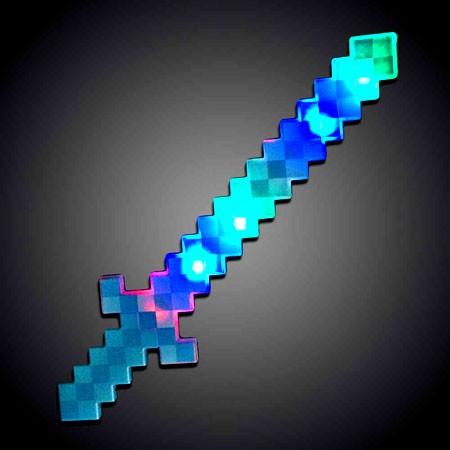24 light up blue pixel sword rgb i sureglow