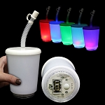 LED Frosty White Cup with Lid and Straw