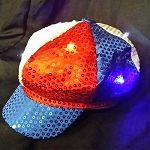 Newsboy Hat Red/White/Blue with LED lights