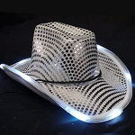 Silver LED Flashing Cowboy Hat