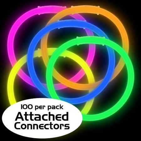 "Assorted 8"" Glow Bracelets - Premium (100-Pack)"
