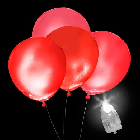 Light-Up Red Balloons, White Light with Red Balloons (5-pack)