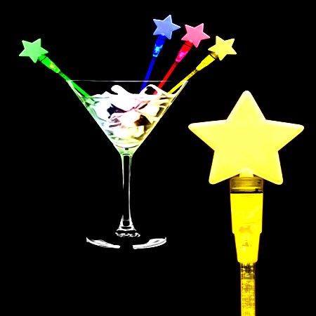 LED Light Up Star Cocktail Stirrers - Assorted- 12 Pack