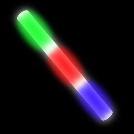 "15.5"" Premium 6 Mode LED Flashing Foam Baton - Rainbow"