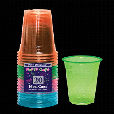 Neon Blacklight Reactive 16 Ounce Soft Plastic Party Cups - 20 count