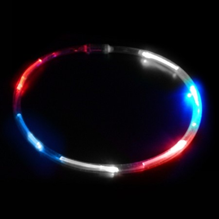Red/White/Blue LED Chaser Necklace